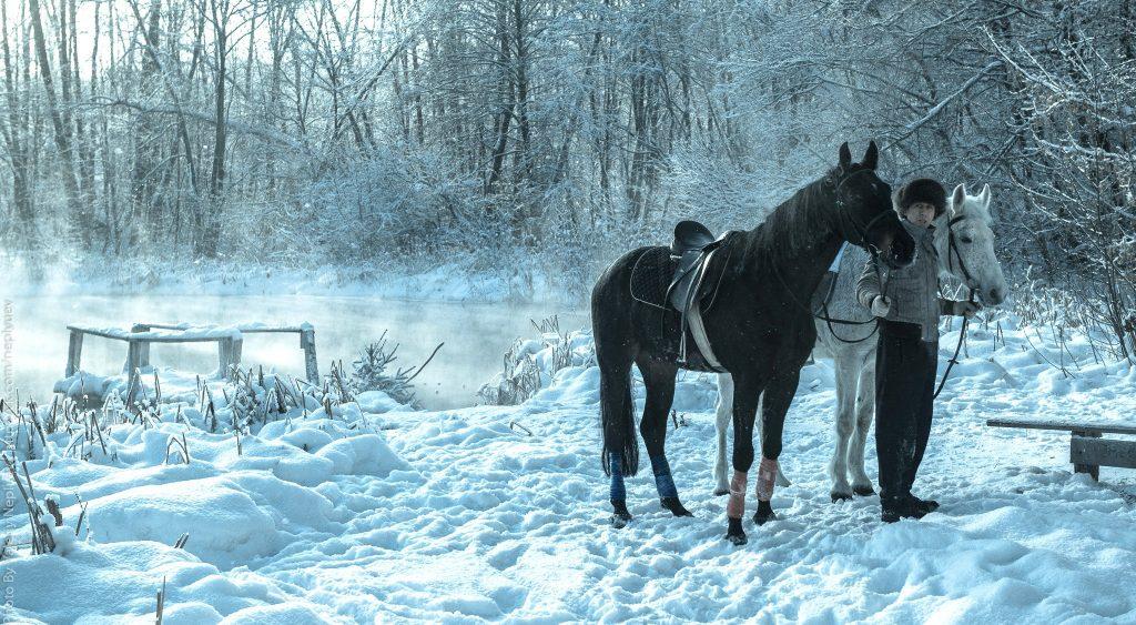 у голубых озер с лошадьми